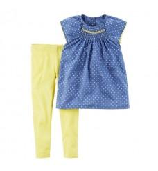 Комплект Картерс синяя туника желтые леггинсы (Код: 04575)